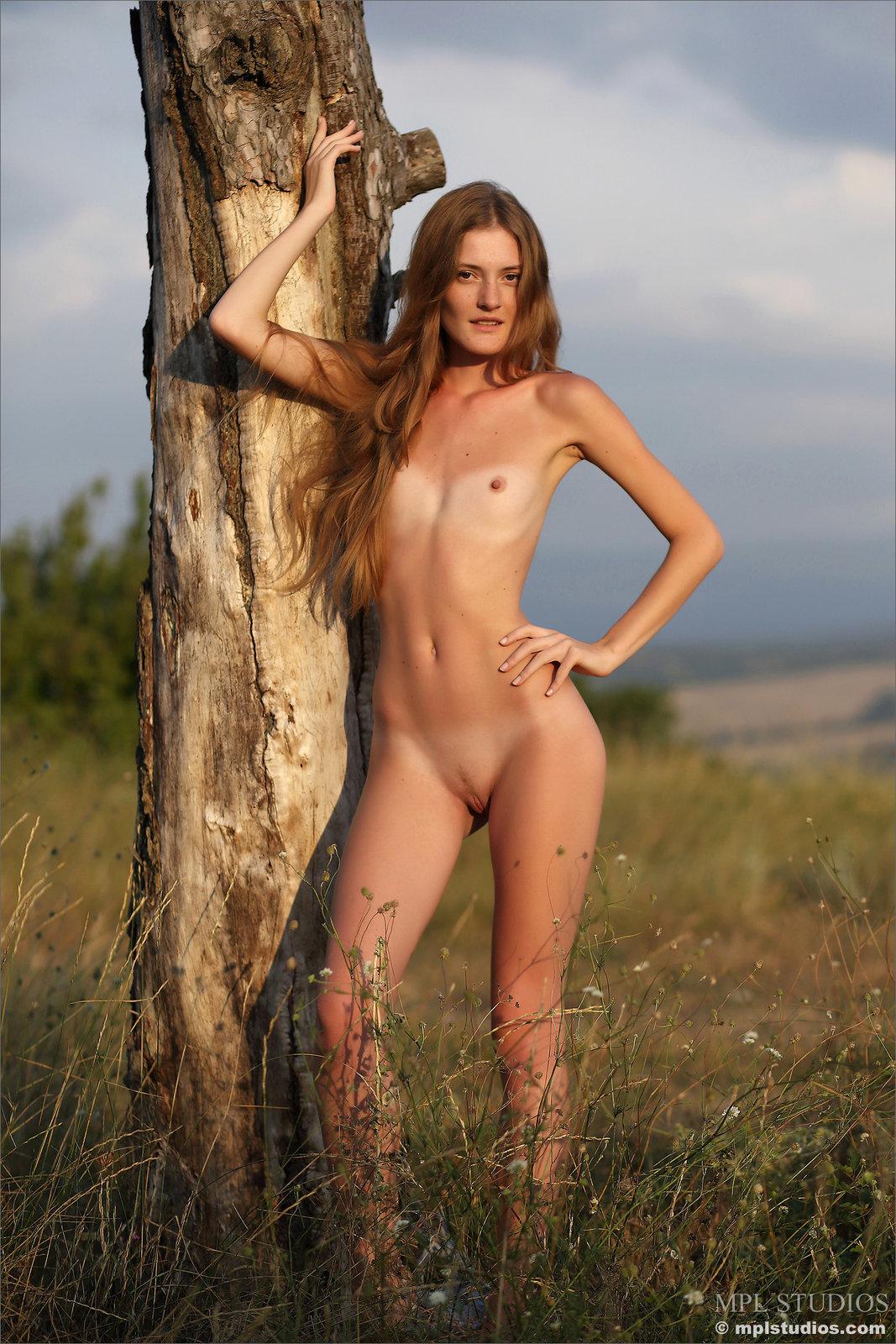 Zdjęcie porno - 1012 - Laseczka na łące ma sterczące piersi
